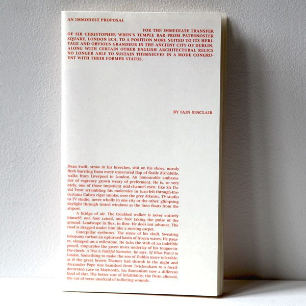 An Immodest Proposal by Iain Sinclair - cover